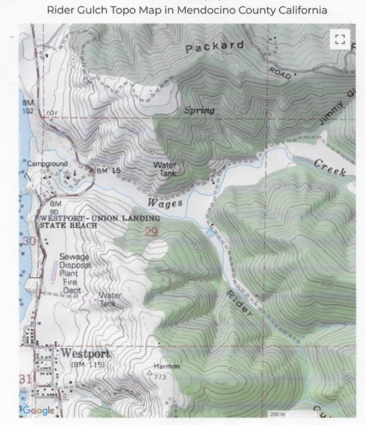 Topo Map showing Rider Gulch
