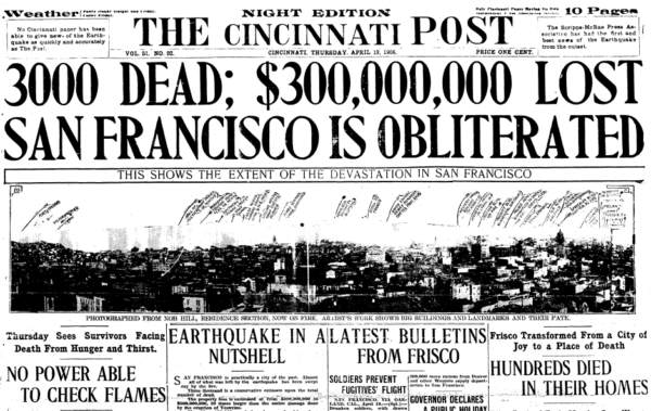 Cincinnati Post April 19th 1906