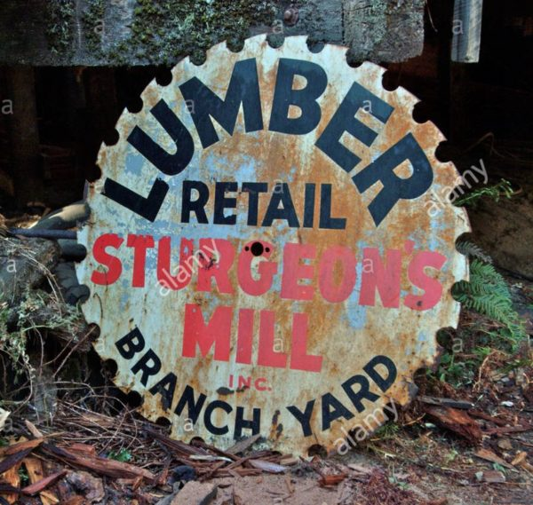 The sign for Sturgeon's Mill is painted on an old sawblade used in the mill's operations
