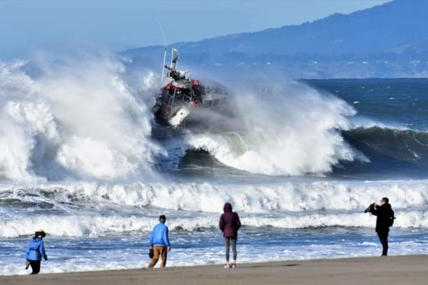 Coastguard leaving Noyo Harbour/Fort Bragg in a storm #7