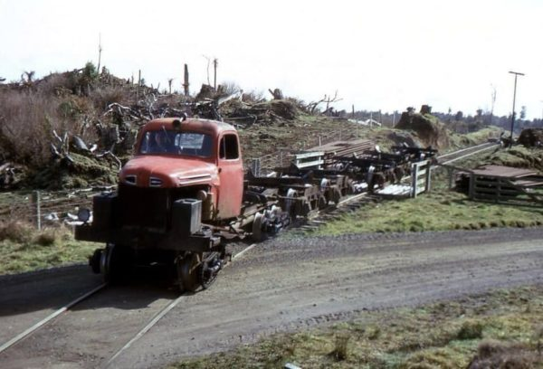 Road truck converted for use in a logging operation #1