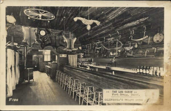 Interior of the Log Cabin Bar in Fort Bragg, CA.
