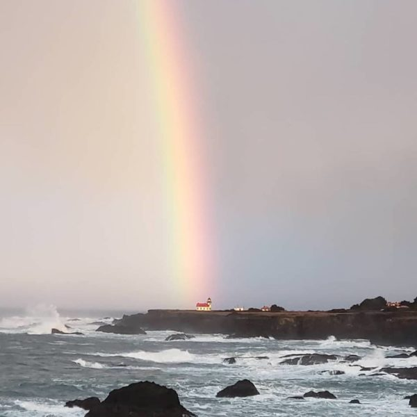 This somewhere over a rainbow is the Point Cabrillo Lighthouse on the Mendocino Coast