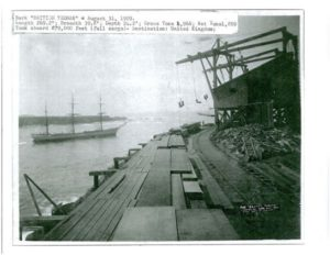 1909 Bark British Yeoman being loaded under the wire in Noyo Harbour