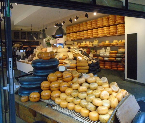 A peek inside a cheese store