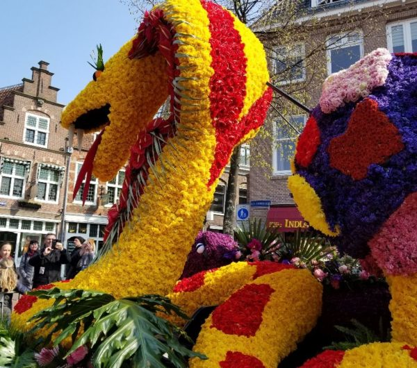 A serpent made of flowers
