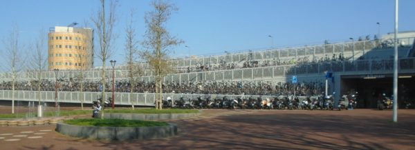 Bikes parked at a small train station