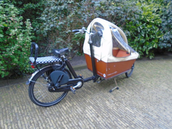 "A mum bike with a covered ""box"" to carry one or two little people"