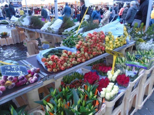 There were a lot of flower stalls at the market in Maastricht
