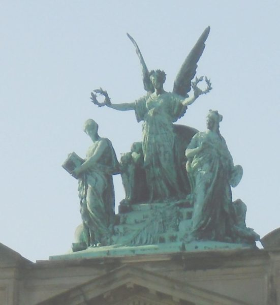 On top of one of the municipal buildings