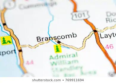 Map showing location of Branscombe in Northern California