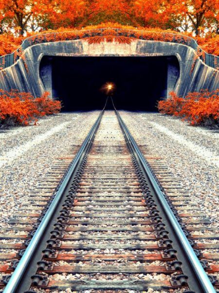 Oncoming train exiting a tunnel in the fall