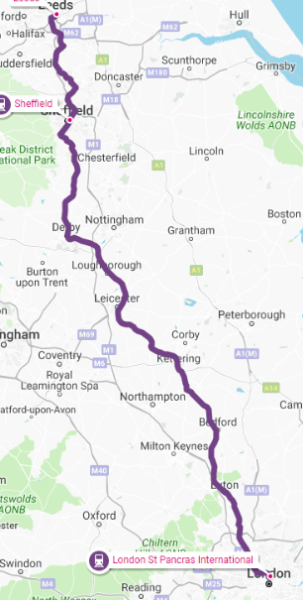 London to Leeds Map