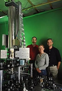 NIST-F1 Cesium Fountain Atomic Clock with people showing its size