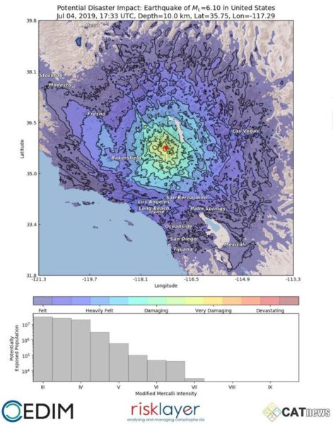 Potential disaster area of the Ridgecrest earthquake
