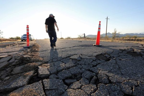 Road damage caused by the Ridgecrest quake