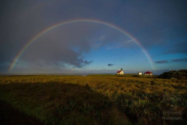 Point Cabrillo under a full rainbow