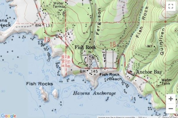 Map showing location of Fish Rock on the Mendocino Coast