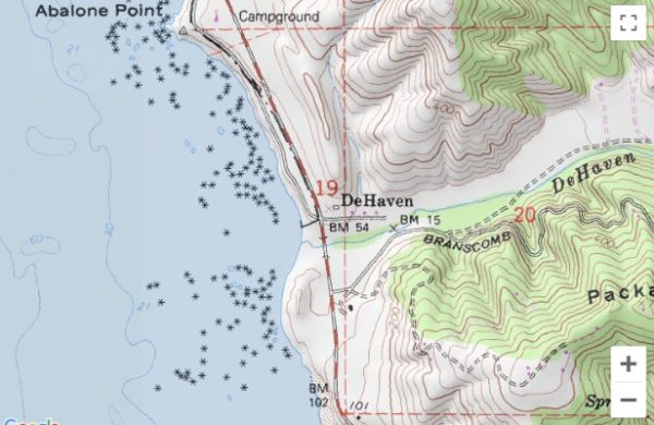 Map showing the location of DeHaven on the Mendocino Coast