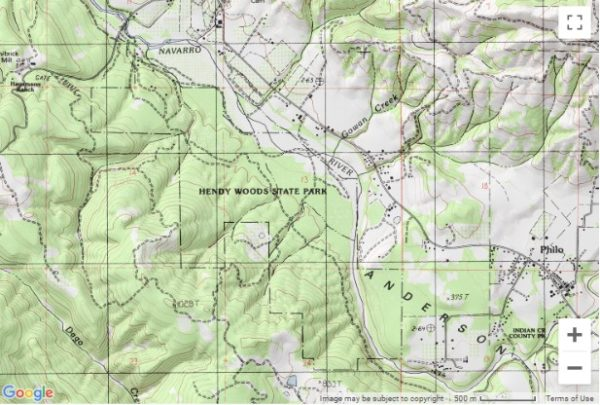 Topo map showing the location of Hendy Woods State Park
